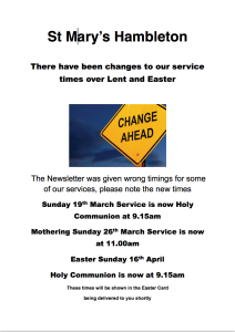 Changes to Service Times - 16 Mar 17