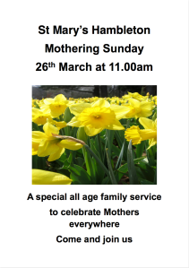Mothering Sunday - 26 Mar 17