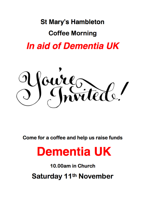 Coffee Morning - Dementia UK 11 Nov 17