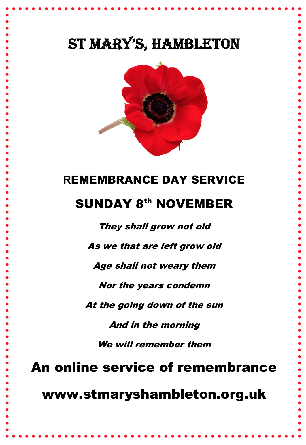 Remembrance 8th Nov 2020