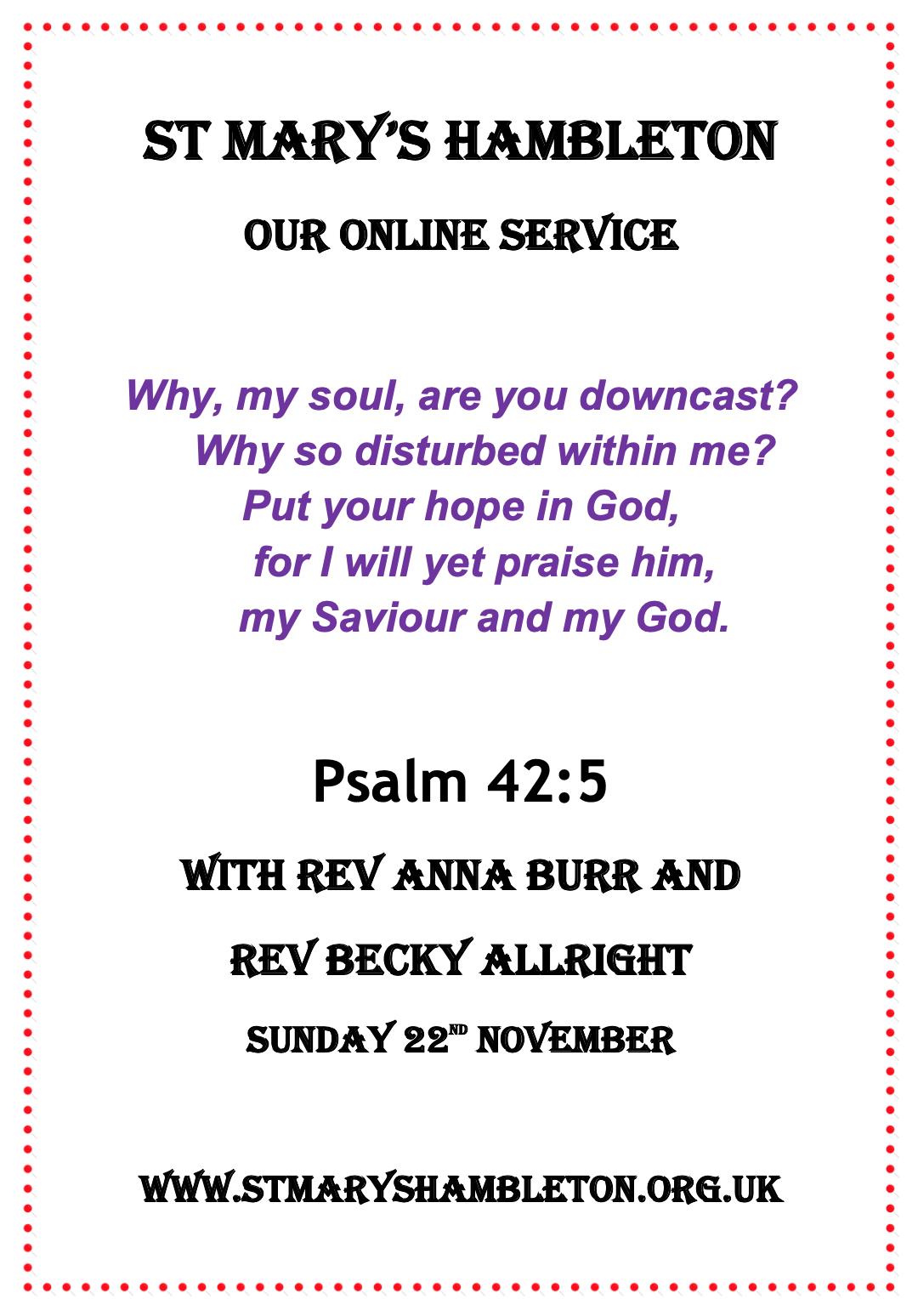 Service 22nd November 2020