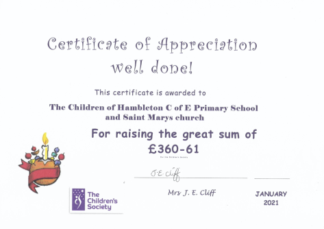 Christingle 2020 Certificate