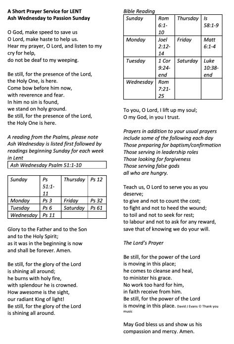 Prayer Service - Lent 17Feb2021