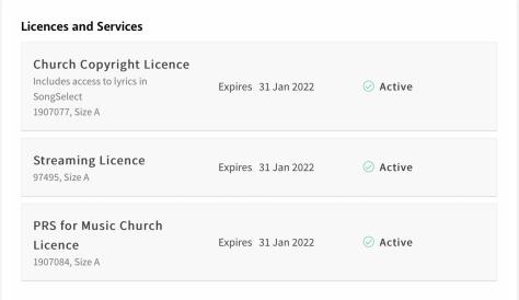 CCLI Licences [as at 10 Feb 2021]