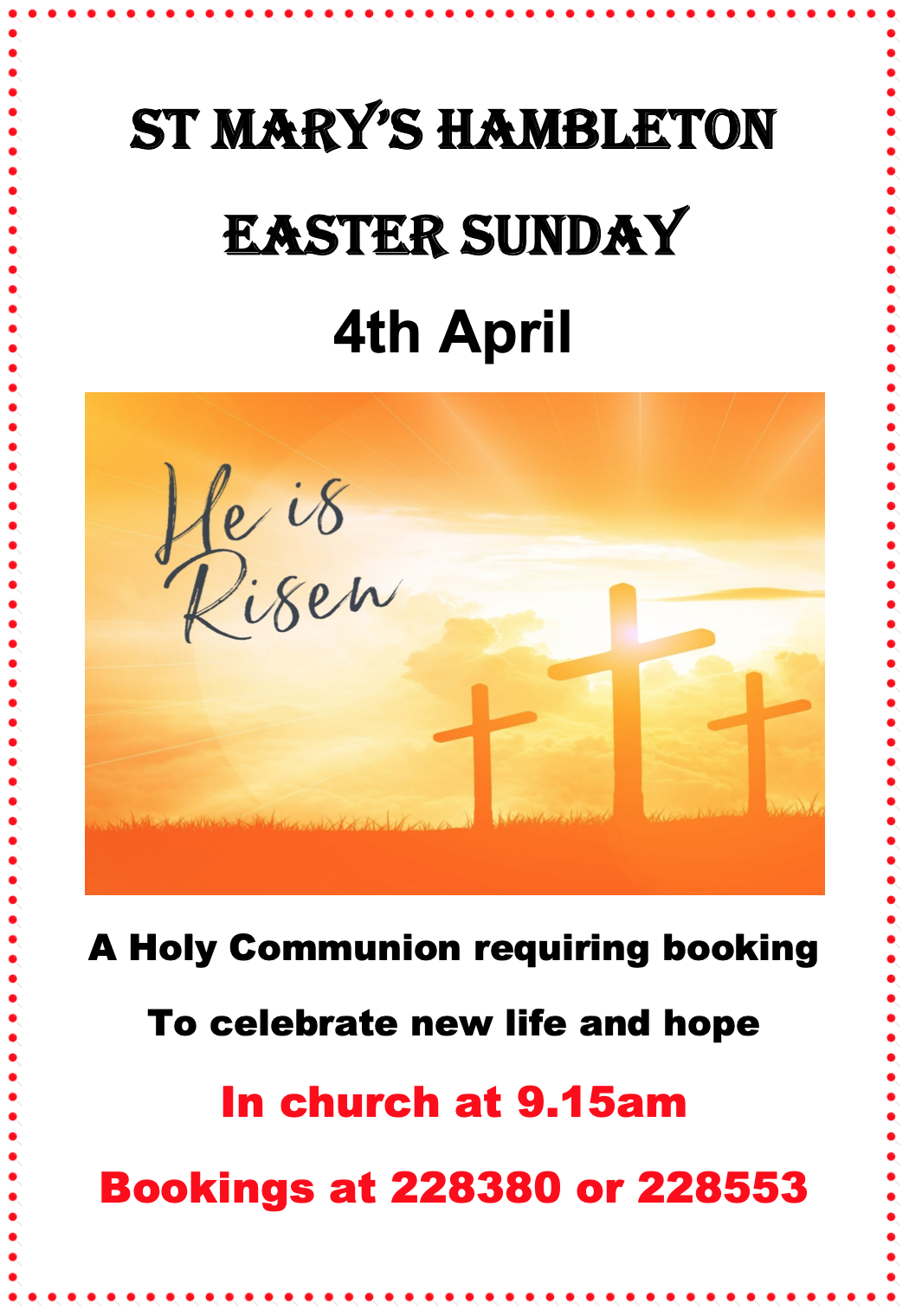 Notice - Easter Sunday 2021