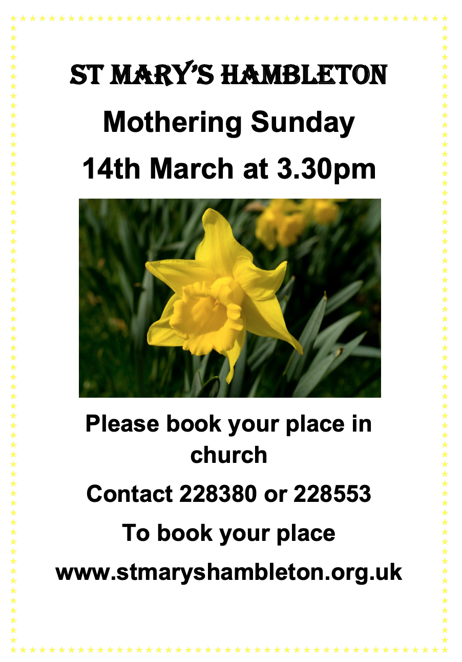 Notice - Mothering Sunday 14MAR2021